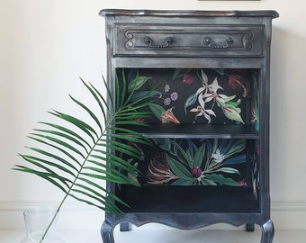 French Carved Shimmer Cabinet Bar & Tropical Print