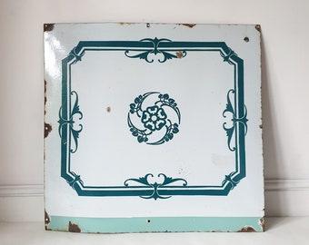 Vintage FRENCH Enamel Sign ART Panel TEAL floral Kitchen Bathroom Decor