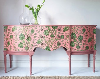 Pink & Green Upcycled Sideboard Drinks Cabinet