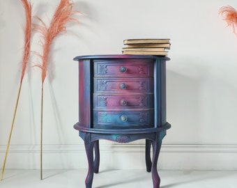 Oil Slick Ombre Painted Bedside Cabinet Side Table Storage Bohemian