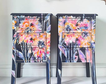 Hand Painted Floral Art Vintage Pair Bedside Tables Cabinets Bedroom Storage