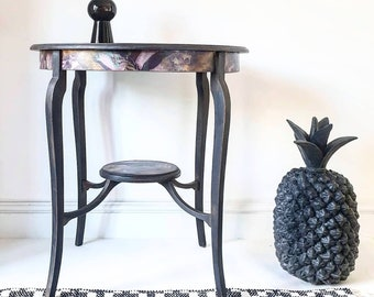 Antique FLORAL Circular Side Table Black UPCYCLED Dark Interiors