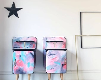 Mid Century Abstract Art Pair of Bedside Cabinets Hand Painted Fabric Upcycled