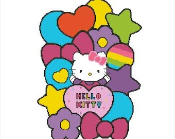 Buy 2 Get 1 Free-Hello Kitty-Modern cross stitch pattern-PDF pattern-Cat-Hello Kitty pattern-kawaii-P-84