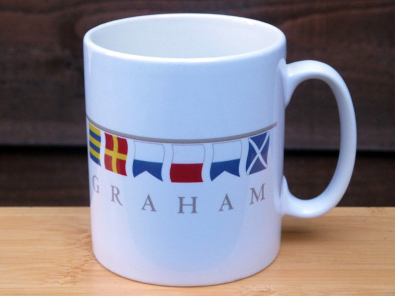 Nautical Flags Personalised Mug: Your Name or Boat Name in image 0