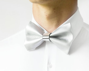 Handmade Modern Elegant Minimalistic Faux Leather Bow Tie, Anniversary Gift, Wedding Bow Tie, Graduation Bow Tie, Men's Bow Tie, Adjustable