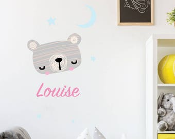 Custom Personalised Name Initial Animals Cute Nursery Kids Bedroom Playroom Decal Bunny Customisable Removable Vinyl Wall Sticker