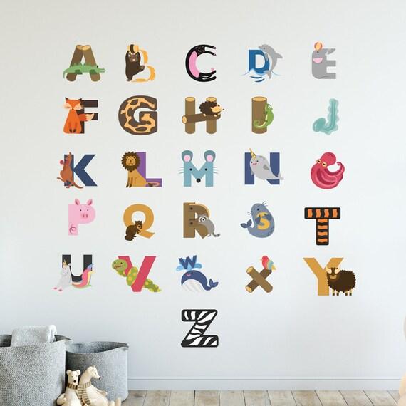 Animal Alphabet | Animals Cute Nature Safari Zoo Creatures Nursery Kids  Children's Bedroom Playroom Decal | Removable Vinyl Wall Sticker