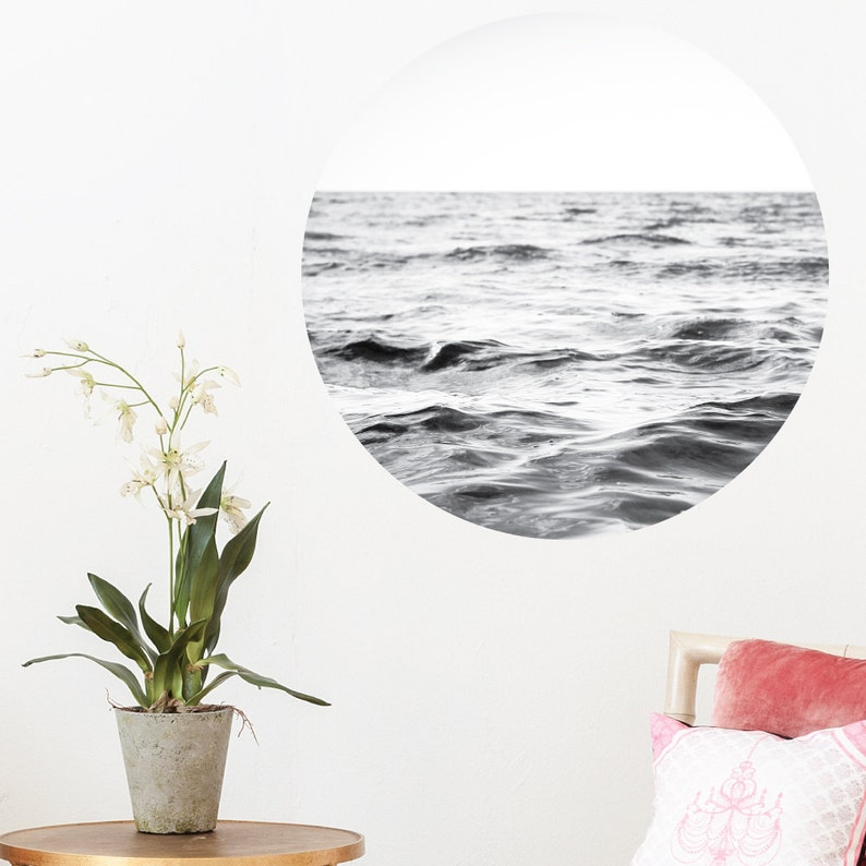 Nature Scenery City Photography Landmarks Floral Flowers Circle Round Living Room Removable Vinyl Wall Sticker Peaceful Ocean Dot