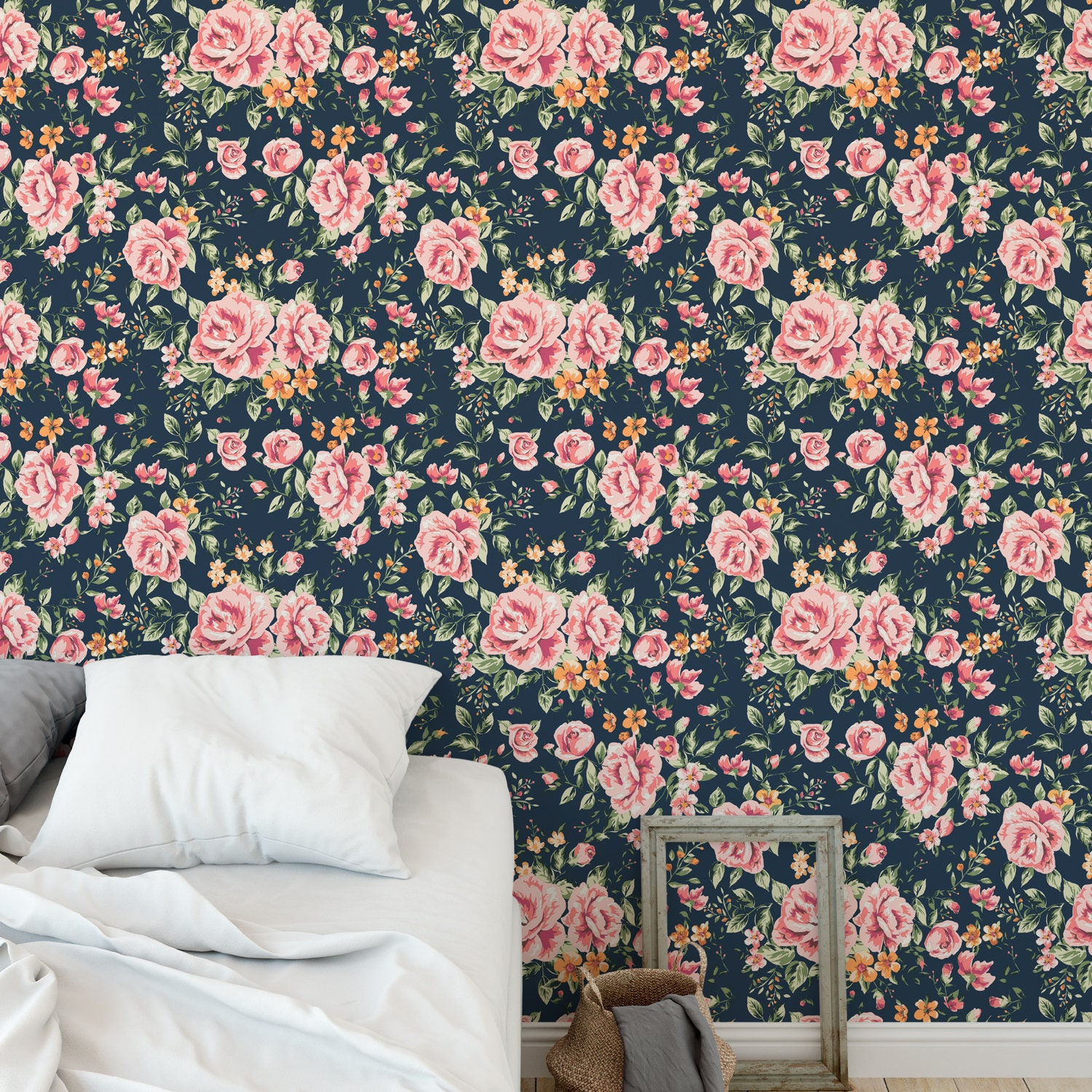 Navy Floral Removable Wallpaper Sticker Fabric Canvas Etsy