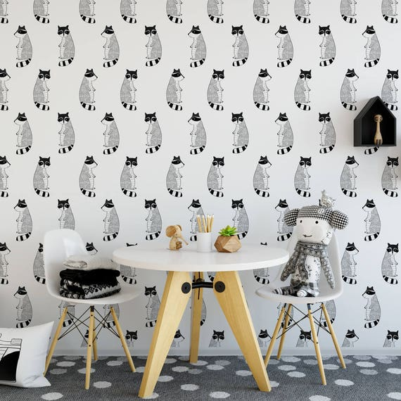 Raccoon removable wallpaper renters canvas animals cute etsy - Removable wallpaper for renters ...