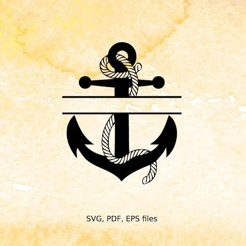 Split Anchor Monogram SVG, rope, nautical Split Monogram frame, pdf, eps,  svg files for cricut, silhouette cameo,