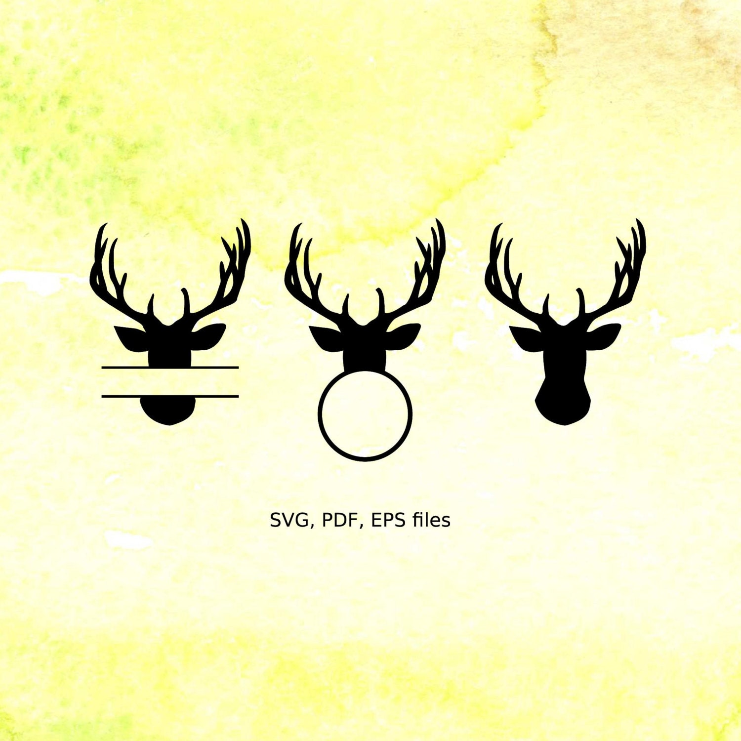 Deer Monogram Frames svg Deer Head Silhouettes svg files for | Etsy