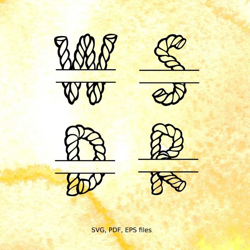 Split letter SVG, Rope Font, Split Monogram Letters, Split Alphabet svg  files for cricut, font for cricut, nautical split monogram svg font