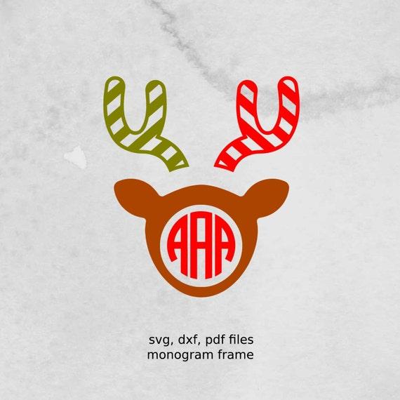 Reindeer Monogram Frame Christmas Svg File Dxf Vectors For Etsy