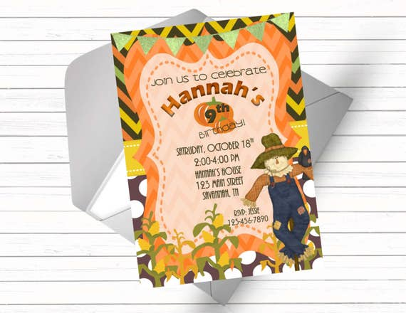Fall Themed Birthday Invitation With Scarecrow And Pumpkins