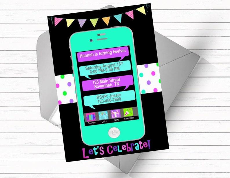 Telephone Portable Texte Message Anniversaire Invitation Etsy