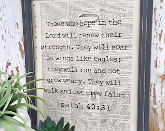 Isaiah 40:31 | Hope Quote | Those who hope | Scripture Quote | Scripture | Dictionary Print |  | Re-purposed Dictionary  | Bible
