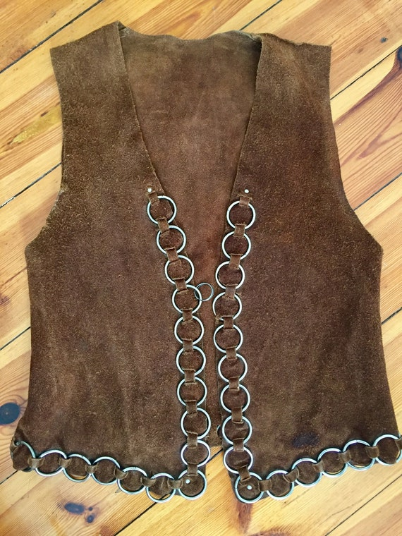 Vintage 1960s psychedelic hippie leather waistcoat