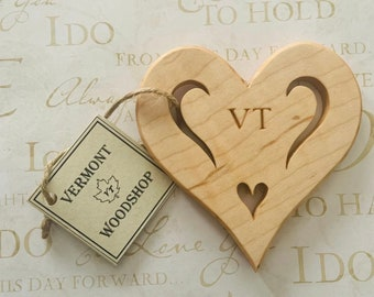 Heart Ornament, Vermont Curly Maple Wood Ornament, Celebrate Love with Wooden Keepsake