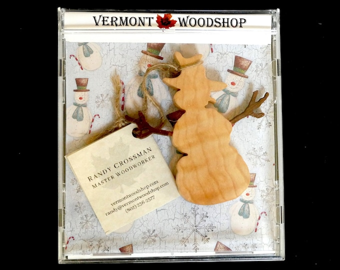 Featured listing image: Winter Snowman Ornaments, Vermont Curly Maple Ornaments, Wooden Holiday Keepsakes