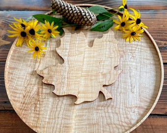 Leaf Embossed Charcuterie Board, Handmade Curly Maple Cutting Board, Cabot Cheese Competition Winner