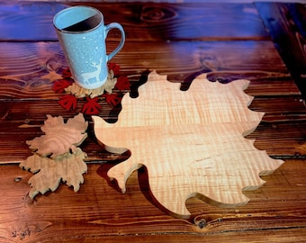 Curly Maple Leaf Cutting Board, Wood Charcuterie Board, Wooden Cutting Board, Custom Cutting Board, Maple Leaf Design