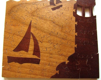 Sailing Away Wood Puzzle, Lighthouse Decor, Sailboat Decor