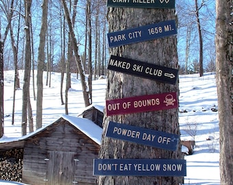 Custom Wood Trail Signs, Rustic Carved Wood Sign, Wood Ski Trail Sign, Ski Trail Sign