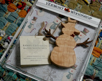 Winter Snowman Ornaments, Vermont Curly Maple Ornaments, Wooden Holiday Keepsakes