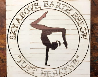 Yoga Handstand Wood Sign