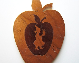 Wood Puzzle (An Apple a Day), Unique Wood Puzzle, Handmade Wood Puzzle, Vintage Wood Puzzle, Country Home Decor