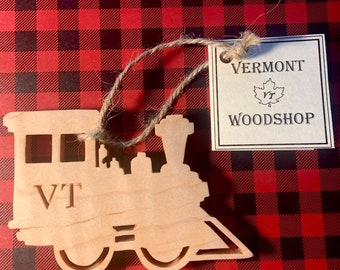 Train Ornament, Vermont Curly Maple Wood Ornament, Rustic Wooden Keepsake
