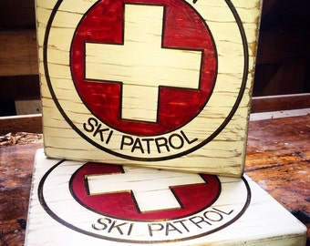 Wood Carved Sign, Custom Wood Ski Patrol Signs, Ski Patrol Sign, Custom Wood Sign, Rustic Wood Sign, Rustic Trail Sign, Rustic Outdoor Sign