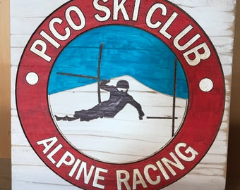 Pico Ski Club Signs, Wooden Ski Trail Signs, Hand-carved and Painted Signs