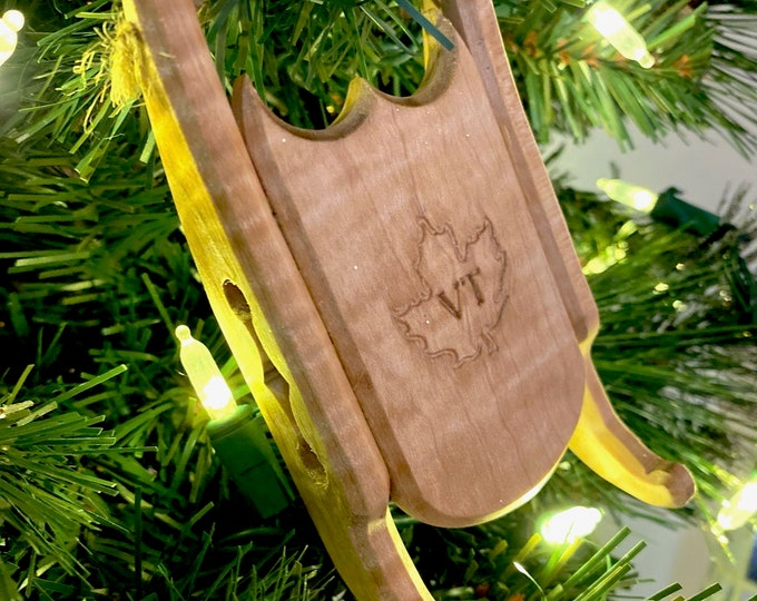 Featured listing image: Winter Sled Ornament, Vermont Curly Maple - Add a Custom Logo on Orders of 10 or More