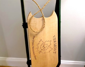 Vermont Winter Wood Sled, Handcrafted Holiday Decor, Authentic Curly Maple Wood Sleigh