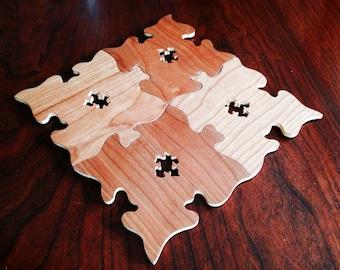 Wood Coasters, Autism Awareness, Wooden Coaster, Custom Coaster, Puzzle Piece, Wood Coaster, Rustic Coasters, Rustic Wood Coaster