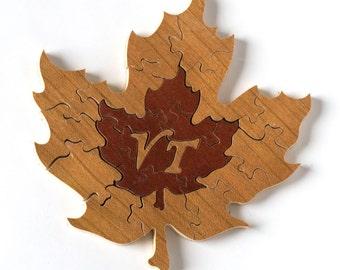 Maple Leaf Wood Puzzle, Vermont Gifts, Maple Leaf, Wood Maple Leaf, Maple Leaf Puzzle, Wood Puzzle, Wood Novelty, Custom Wood Puzzle