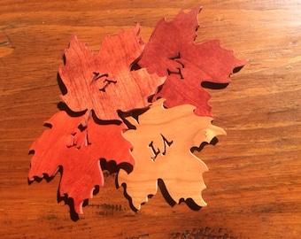 Wood Coasters, Vermont, Vermont Maple Leaf, Maple Leaf, Wood Maple Leaf, Decorative Coaster, Wooden Coaster