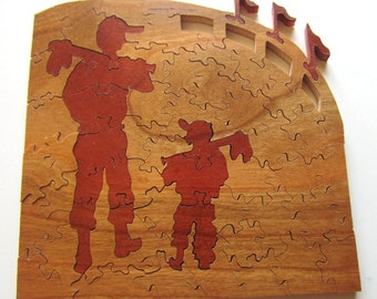 Baseball Hand-cut Wooden Puzzle, Custom Wood Puzzle, Rustic Home Decor, Baseball gift, Gifts for Dad, Gifts for Grandpa