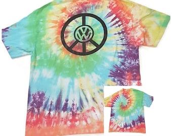 87d3d56ef68 Vintage 90s VW Volkswagen Peace Symbol Rainbow Tie Dyed T Shirt Dead Head  Mens Adult Size Large L Fan Art Grateful Dead Concert T Shirt