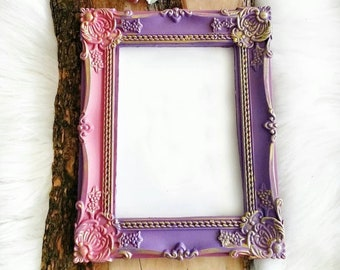 19cm flowers leaves mirror picture frame Silicone mold exotic bow for plaster resin wax Polyester K056 clay polymer