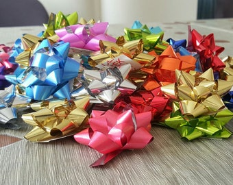 100 mini nodes Bolduc Ribbon multicolor effect metallic for gift wrapping package box 3cm