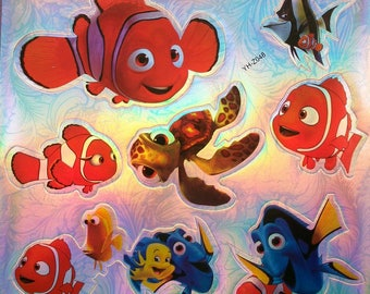 7 Stickers stickers stock hologram fish turtle for activities manual Scrapbooking