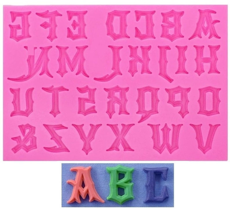 Silicone Alphabet Zelda Mold Letter 27 Pieces for Fimo Plaster Plaster Cire Soap Resin Resin K432 HT