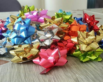 10 mini nodes Bolduc Ribbon multicolor effect metallic for gift wrapping package box 3cm