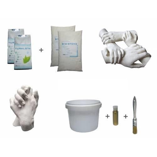 Kit Moule Alginate Moulage Empreinte Pied Main Main Main pour adulte ou Bébé + Peinture doré imitation Or cd7872