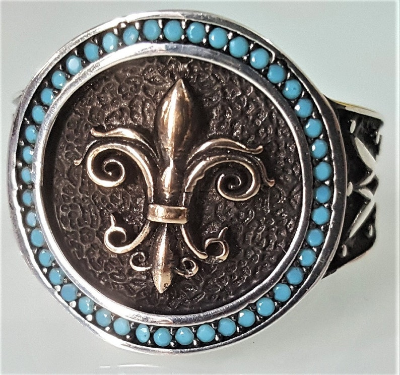 8gr Men/'s Men/'s Solid Silver Ring 925 Deco Lys Royal Lis Serti Strass Turquoise