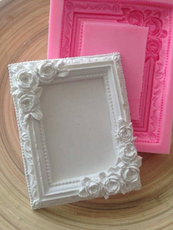 moule silicone pour cadre photo miroir rectangle fleurs roses etsy. Black Bedroom Furniture Sets. Home Design Ideas
